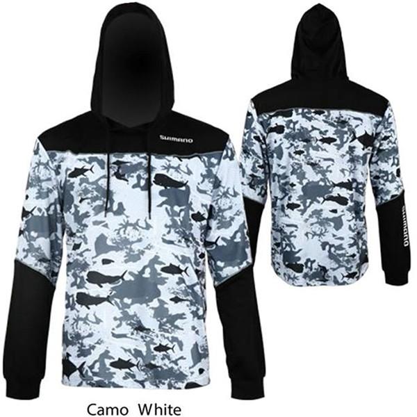 Shimano hood jersey white camo long sleeve shirt for Shimano fishing shirts